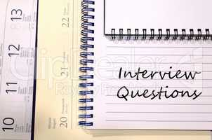 Interview questions write on notebook