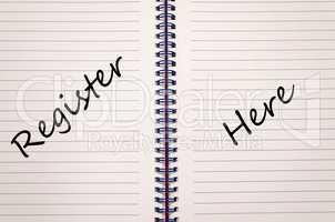 Register here write on notebook