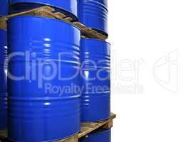 Blue metal fuel tanks of oil stored at the production site isola