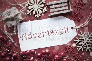 Nostalgic Christmas Decoration, Label With Adventszeit Means Advent Season