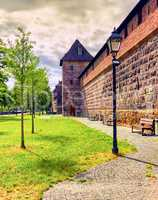 Wall and tower of the fortification in old town, Nuremberg, Germany