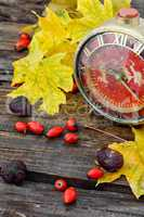 Autumn still life with clock