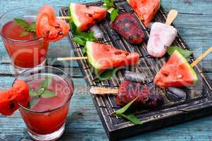 Watermelon ice cream and juice