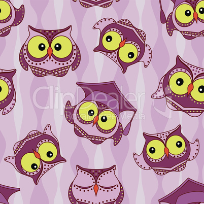 Funny owls seamless pattern