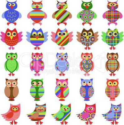 Twenty five amusing colorful owls