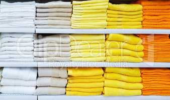 Big pile of colorful towels