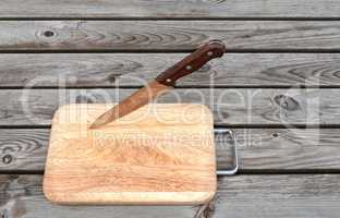 Steel knife and cutting board