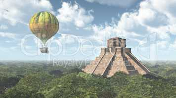 Maya Tempel und Fantasie Heißluftballon