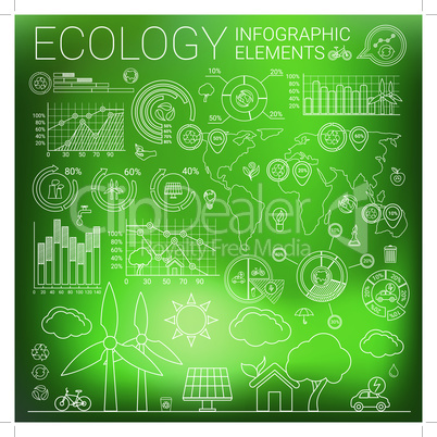 Ecology line style infographic elements and icons.