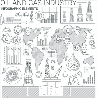 Oil and Gas line style infographic elements.