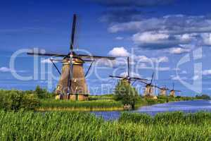 Windmills in Kinderdijk, Holland, Netherlands