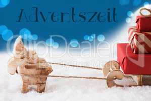 Reindeer With Sled, Blue Background, Adventszeit Means Advent Season