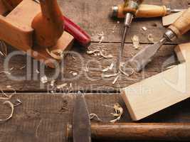 Carpenter tools on a workbench
