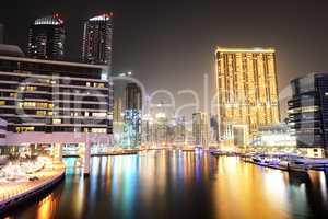 The night illumination of Dubai Marina, UAE