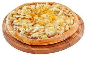 Fruit pizza with pineapple, peaches and apples