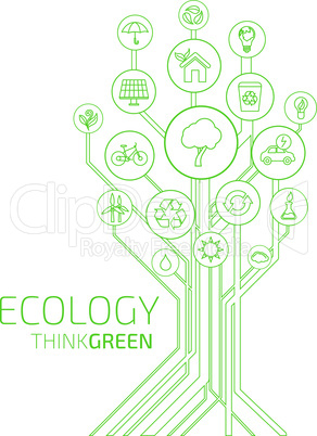 Ecology infographic elements and icons tree.