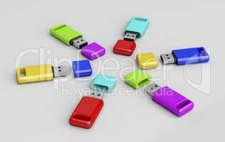 Group of colorful usb memory sticks