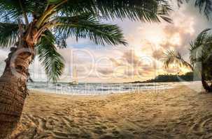 Tropischer Strand bei Sonnenuntergang, ein Paradies mit Sand und