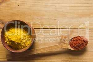 Ground paprika and turmeric