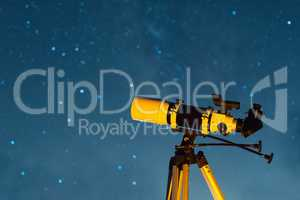 Astonomical Telescope Pointed at the Starry Sky in the Night