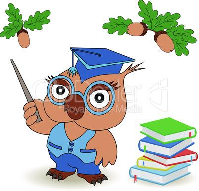 Professor Owl in glasses and in mortarboard