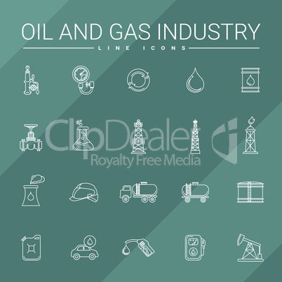 Oil and gas industry line icons set.