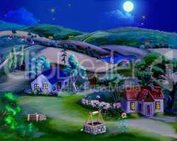 Fairy Tale Summer Night in the Village
