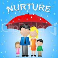 Nurture Kids Shows Umbrellas Supporting And Offspring