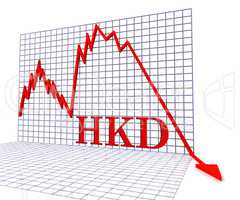 Hkd Graph Negative Means Hong Kong Dollar And Coinage 3d Renderi