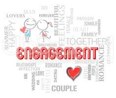Engagement Couple Represents Find Love And Affection