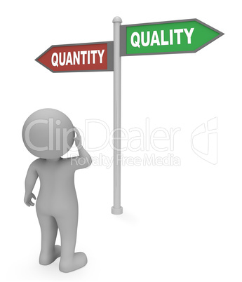 Quantity Quality Sign Shows Approval Satisfied And Guarantee 3d