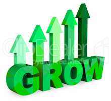 Grow Arrows Represents Improve Rising And Improvement 3d Renderi