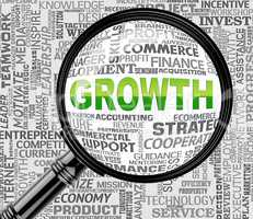 Growth Magnifier Indicates Increase Searches And Searching