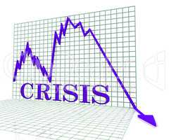 Crisis Graph Represents Hard Times And Calamity 3d Rendering