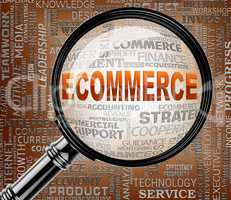 Ecommerce Magnifier Represents Online Business And Biz