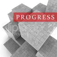 Progress Blocks Indicates Advancement Progression And Headway 3d