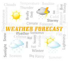 Weather Forecast Indicates Meteorological Conditions And Forecaster