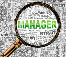 Manager Magnifier Shows Managing Magnification And Boss