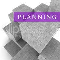 Planning Blocks Shows Book Aspirations And Goals 3d Rendering