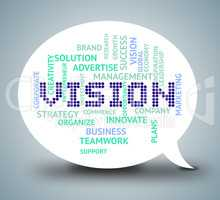 Vision Bubble Shows Plan Speak And Aspire