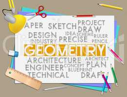 Geometry Words Shows Shape Measurement And Geometric