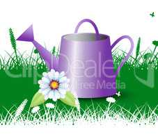 Watering Can Shows Cultivating Agriculture And Irrigation