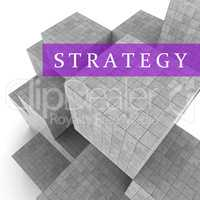 Strategy Blocks Shows Planning Solutions And Tactics 3d Renderin