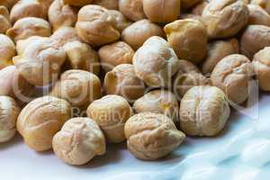Chickpeas Close Up. Pile of Organic Uncooked Chickpeas. Gold Chi
