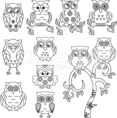 Set of various ornamental owl black outlines