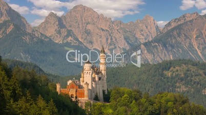 Castle Neuschwanstein in the Morning. Time Lapse