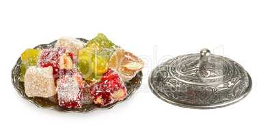 Turkish Delight in a candy isolated on white background