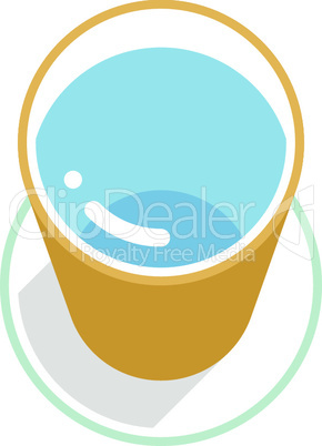 Yellow bucket with clean water