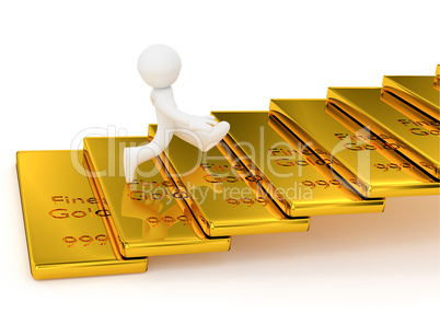 Small character on gold bar stairs, 3d rendering