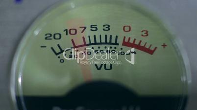 Closeup vintage volume indicator working